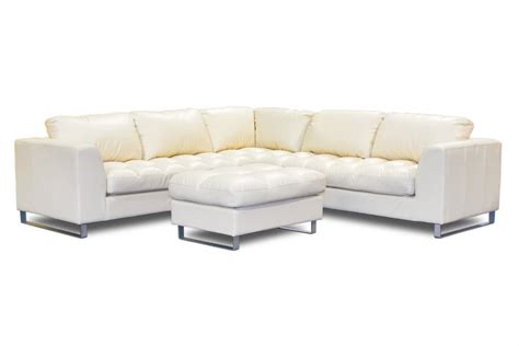 L Shaped Ivory Leather Tufted Saddle Sofa With Ottoman And