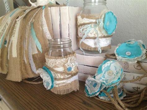 rustic wedding decor for 10 jars rustic wedding centerpiece blue burlap jar