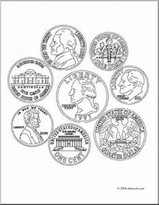 Clip Art: Coin Set (coloring page) | abcteach