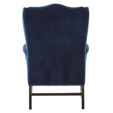 gracie deco royal blue velvet classic wing chair