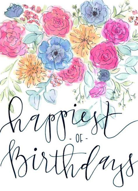 happy birthday card watercolor floral modern