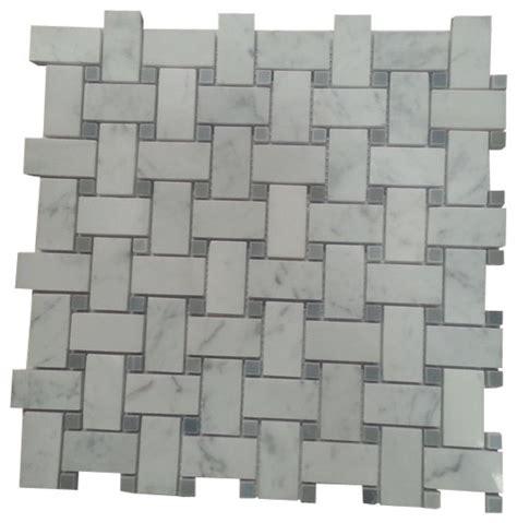 carrara basketweave carrara marble polished basketweave mosaic tile with grey dots box of 5 sq ft contemporary