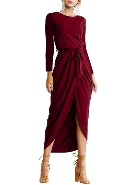 womens elegant solid color long sleeve dress  belt
