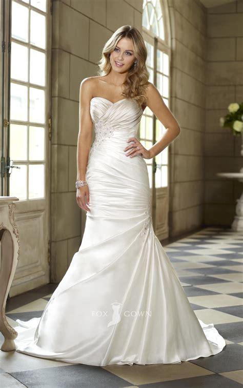 satin sweetheart strapless trumpet side draped ruched