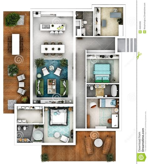 Architectural 3d Floor Plan Top Stock Image Image: 45834395