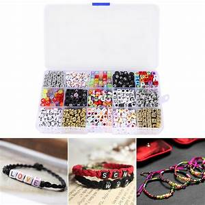 Kit of 1100 letter alphabet beads for braided bracelet for Bracelet making kit with letters