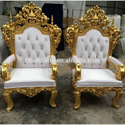 white tiffany golden silver antique royal carved king queen throne wedding chairs  bride