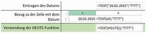 Excel Wochentag Berechnen : excel anleitung aktuelles datum einf gt ~ Haus.voiturepedia.club Haus und Dekorationen