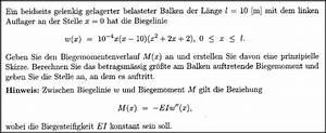 Biegemoment Berechnen Online : mp forum biegemoment berechnen und maximum bestimmen matroids matheplanet ~ Themetempest.com Abrechnung