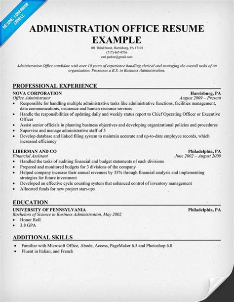 Resume Administrative Officer by 17 Best Images About Resume On Free Entry
