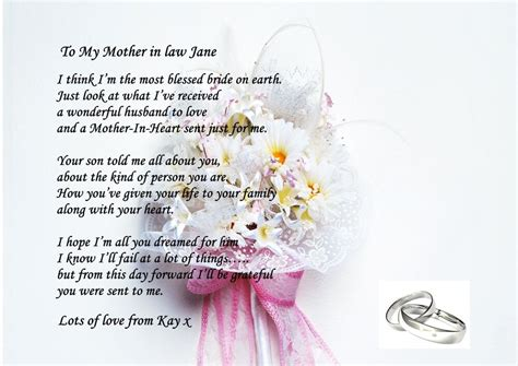 personalised poem   mother  law   wedding