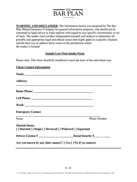 Legal Client Intake Form Template Download - Fill Online