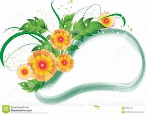 Yellow And Orange Flowers Frame Stock Vector ...
