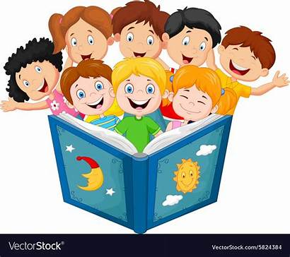 Reading Cartoon Clipart Kid Vector Studying Pupils