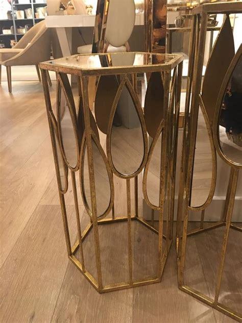 set   teardrop gold mirror side tables mulberry moon
