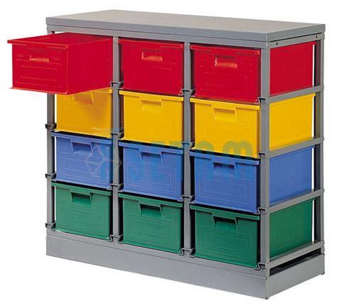 rack rangement 12 postes avec caisses plastique 27 litres