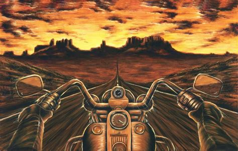 Harley Davidson Painting Motorcycle Artwork Stretched