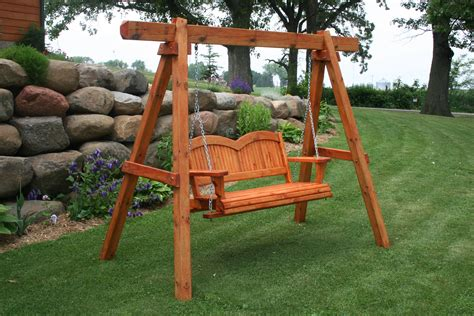 porch swing with stand brown wooden porch swing with stand and chain