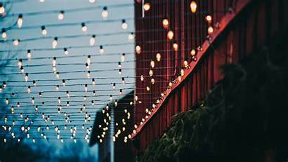 Christmas Lights Wallpapers Evening Bokeh Stage Building