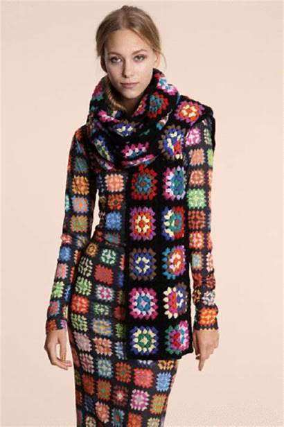 Crochet Maxi Granny Scarf Square Clothes Squares