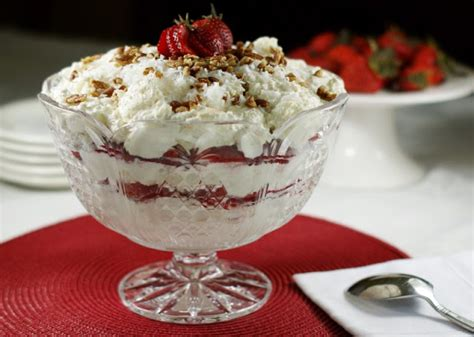 southern strawberry coconut punch bowl cake