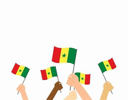 Holding Hands Vector Senegal Flags Isolated Illustration