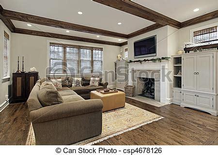 Stock Bild Von Balken, Decke, Holz, Zimmer, Familie