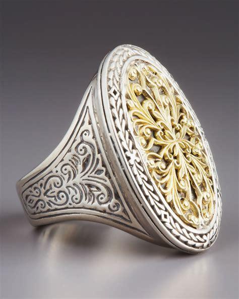 konstantino oval filigree ring  metallic lyst