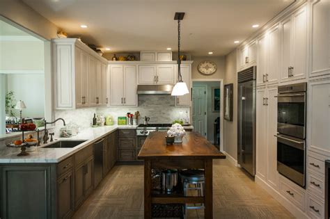 pelavin gray rustic kitchen remodel crystal cabinetry