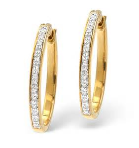 non nickel earrings hoop earrings 0 20ct pave set diamond 9k yellow gold