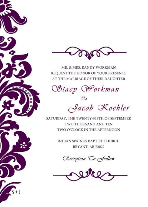 neat  simple wedding invitations printable templates