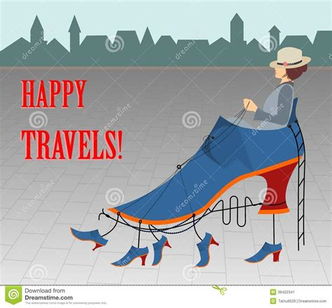 Happy Travels Card Or Illustration Stock Image Image