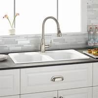 "white kitchen sink 32"" Berwick White Double Bowl Cast Iron Drop-in Kitchen Sink - Kitchen"
