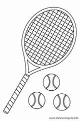 Tennis Coloring Ball Outline Sports Raquet Flashcard Racket Pages Clipart Flashcards Sport Printable Cliparts Learning Site Getcoloringpages Library Clip sketch template