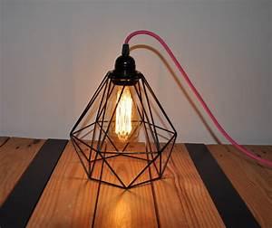 Lampe Ampoule Filament : lampe cage cordon rose ampoule filament m tal noir luminaire moderne design ~ Teatrodelosmanantiales.com Idées de Décoration