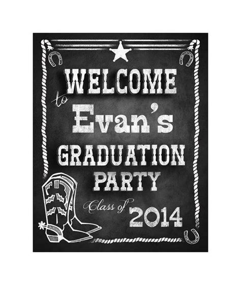 western theme chalkboard style graduation party welcome sign diy printable file in 2019