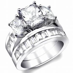 2 carat radiant cut cubic zirconia cz sterling silver With womens cz wedding ring sets
