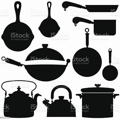 Pots Pans Vector Silhouettes Pan Kettles Cooking