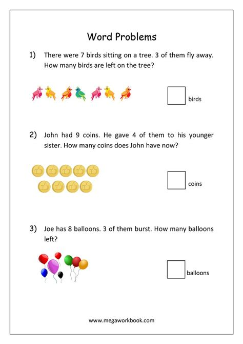 addition  subtraction word problems worksheets