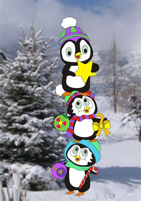 penguins decorating tree christmas woodworking pattern