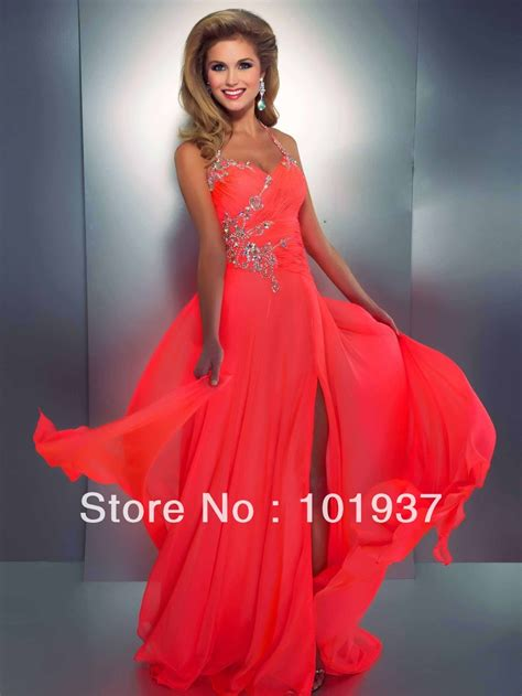 wholesale coral evening dress halter crystal chiffon women