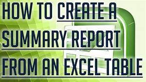 Free Excel Tutorial  How To Create A Summary Report From
