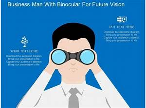 Td Business Man With Binocular For Future Vision Flat