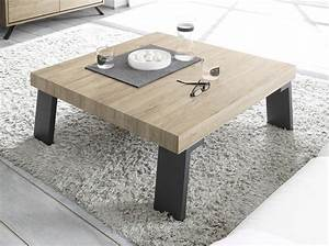 Table Basse Bois Industriel : meuble table basse carre industriel en bois et mtal ~ Teatrodelosmanantiales.com Idées de Décoration