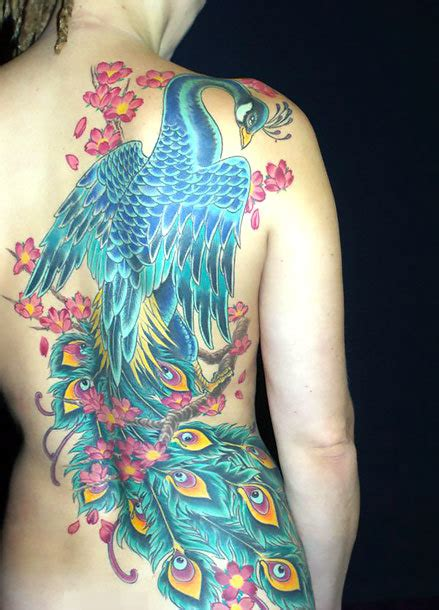 japanese peacock tattoo idea