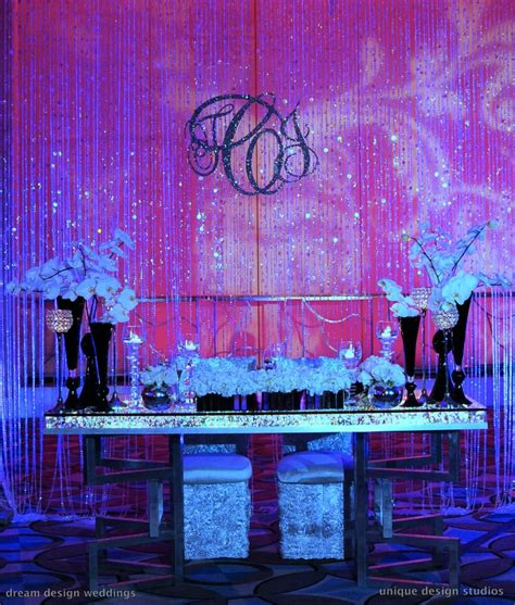 Bling Sweetheart Table With Crystal Curtain Backdrop And