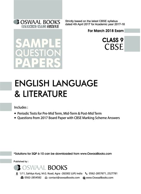 How can i get answers to the grammar section of icse english language paper 2018? Download Oswaal CBSE Sample Question Papers Class IX English Language & Literature (Mar. 2018 ...