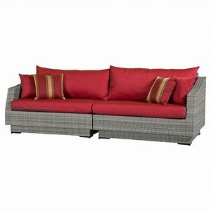 Rst brands cannes 2 piece patio sofa with cantina red for 2 piece red sectional sofa