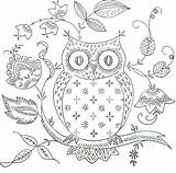 Owl Coloring Pages Patterns Mosaic Embroidery sketch template