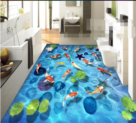 epoxy flooring kolkata 3d flooring wallpaper custom waterproof 3d flooring pvc stone lotus carp shell 3 d floor tile